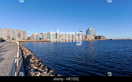 The exciting new attractive residential and office block quarter, Sandkaj Brygge, in Nordhavn, the north harbour - Stock Photo