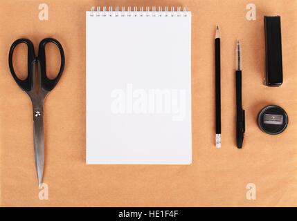Mock up on the kraft paper. Templates blank with stationery, copy space, top view. Flat lay - Stock Photo