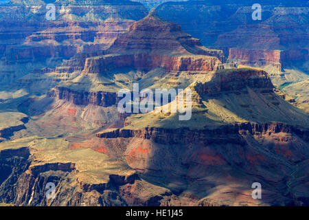 In this view shadows from the clouds move across the rock formations in Grand Canyon National Park, Arizona, USA - Stock Photo