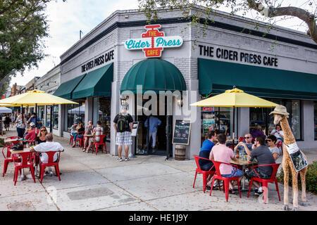 St. Saint Petersburg Florida Central Avenue The Cider Press Cafe restaurant alfresco front entrance exterior - Stock Photo