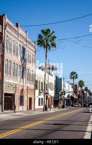Tampa Florida Ybor City historic neighborhood 7th Avenue street - Stock Photo