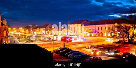 Town of Krizevci evening advent view, Prigorje region of Croatia - Stock Photo