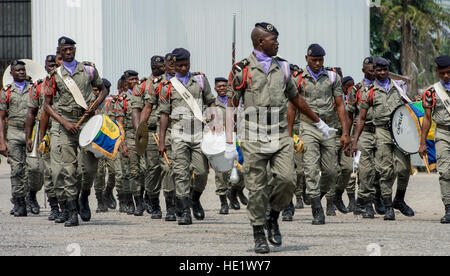 Military band members from Gabon Africa march on the flightline in Libreville, Gabon, June 13, 2016. The 818th Mobility - Stock Photo