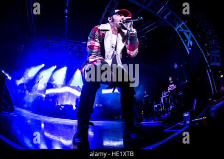Milano, Italy. 15th Dec, 2016. Italian rapper Salmo performs live at Fabrique. © Mairo Cinquetti/Pacific Press/Alamy - Stock Photo