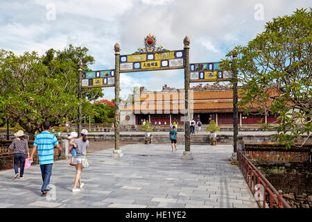 Entrance way to Thai Hoa Palace (Palace of Supreme Harmony). Imperial City, Hue, Vietnam. - Stock Photo