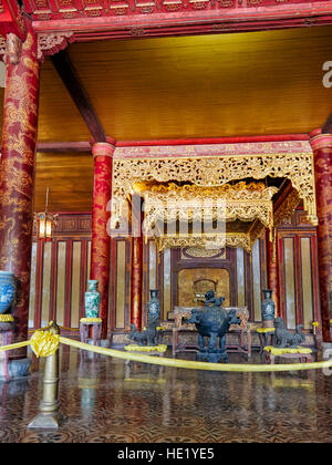 Interior of Thai Hoa Palace (Palace of Supreme Harmony). Imperial City, Hue, Vietnam. - Stock Photo