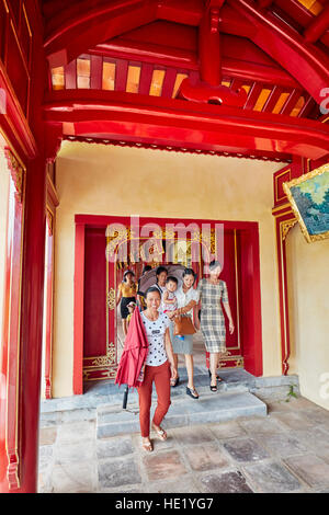 Open gallery in Khon Thai Residence (Queen's Private Apartment). Imperial City, Hue, Vietnam. - Stock Photo