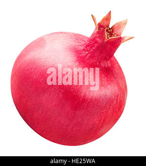 red ripe pomegranate fruit isolated on white background clipping path - Stock Photo