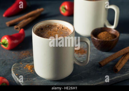 Homemade Holiday Spicy Mexican Hot Chocolate with Cinnamon - Stock Photo