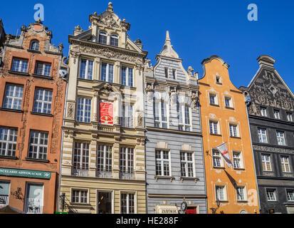 Poland, Pomerania, Gdansk (Danzig), patrician houses at Long Lane (Langgasse/ Ulica Dluga) - Stock Photo