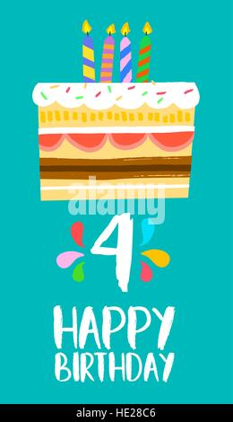 Happy birthday number 4, greeting card for four years in fun art style with cake and candles. Anniversary invitation, - Stock Photo