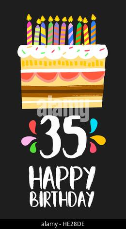 Happy birthday number 35, greeting card for thirty five years in fun art style with cake and candles. Anniversary - Stock Photo