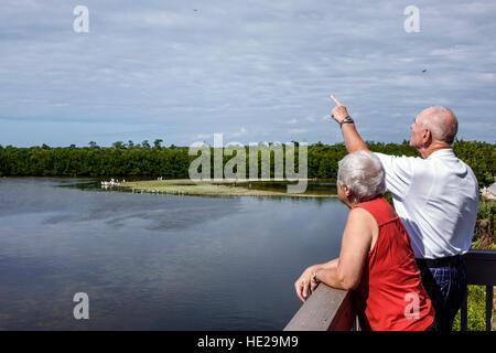 Sanibel Island Florida J. N. J.N. JN Ding Darling National Wildlife Refuge senior man woman couple Sanibel Bayou - Stock Photo