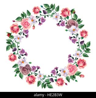 Watercolor wreath pink roses. Hand painted flowers. Floral frame vector clip art - Stock Photo