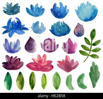 Watercolor abstract flowers vector clipart. Blue and purple floral - Stock Photo