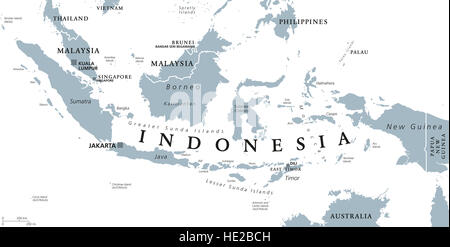 Indonesia political map with capital Jakarta, islands, neighbor countries Malaysia, Singapore, Brunei, East Timor - Stock Photo