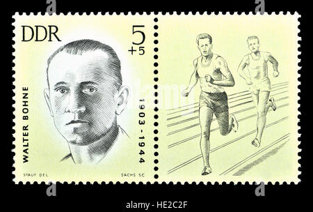 East German postage stamp (1963) : Walter Bohne (1903-44) long-distance runner and Communist resistance fighter - Stock Photo