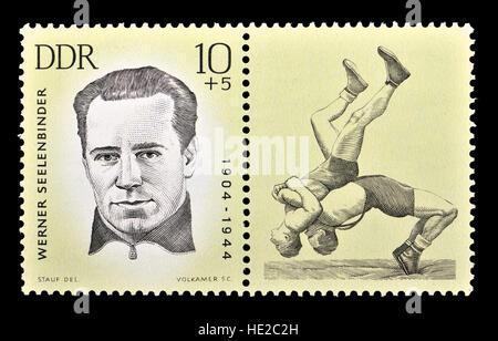 East German postage stamp (1963) : Werner Seelenbinder (1904 – 1944) German communist and Olympic wrestler. - Stock Photo