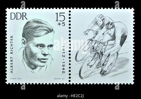 East German postage stamp (1963) : Albert Richter (1912 - 1940) German cyclist who won the world sprint championship. - Stock Photo