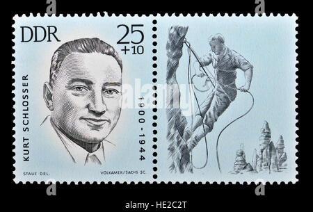 East German postage stamp (1963) : Kurt Schlosser (1900 – 1944) German cabinet-maker, climber and active Communist. - Stock Photo