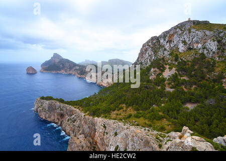 Cape Formentor on the island of Majorca in Spain on a rainy day - Stock Photo