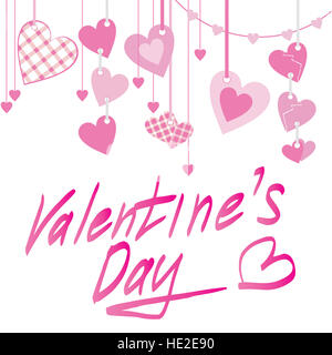 Valentine's day text and hearts pink isolated on white - Stock Photo
