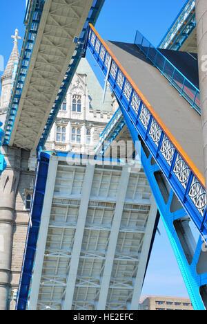 London Tower Bridge road segments raised in close-up view - Stock Photo