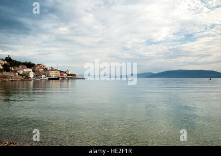 Valun Village Port on the Island of Cres in Croatia - Stock Photo