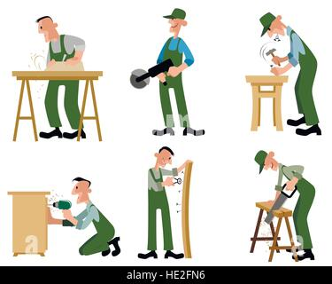 Vector illustration of a woodwork professionals set - Stock Photo