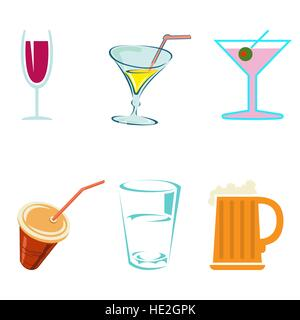 Alcohol drinks and cocktails in glasses decorative icons set isolated vector illustration - Stock Photo