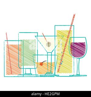 Alcohol drinks and cocktails in glasses decorative scribble set isolated vector illustration - Stock Photo