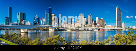 BRISBANE, AUSTRALIA, SEPT 13 2016:View of Brisbane from South Bank over the river. Brisbane is the capital of QLD - Stock Photo