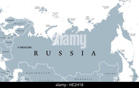 Russia political map with capital Moscow, national borders and neighbor countries. Russian Federation, a federal - Stock Photo