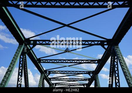 Steel structure support above the bridge on blue sky background - Stock Photo