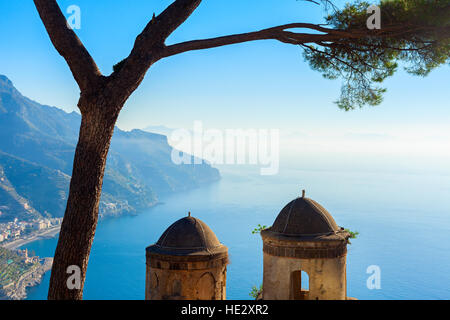 beautiful villa rufolo view in the town of ravello - Stock Photo