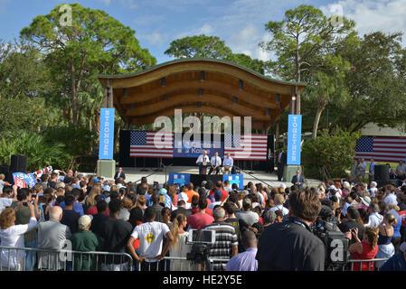 Vice President Joe Biden speaking onstage with U.S. Representative (D-FL-18) Patrick Murphy and U.S. Sen. Bill Nelson - Stock Photo