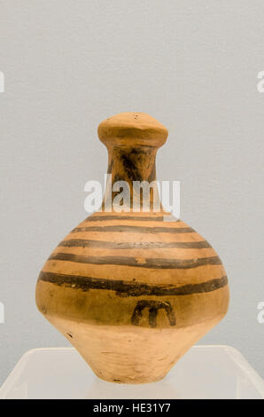Ancient porcelain ceramic pottery vase vessel jar pitcher pot exhibit display at Shanghai Museum, Shanghai, China. - Stock Photo