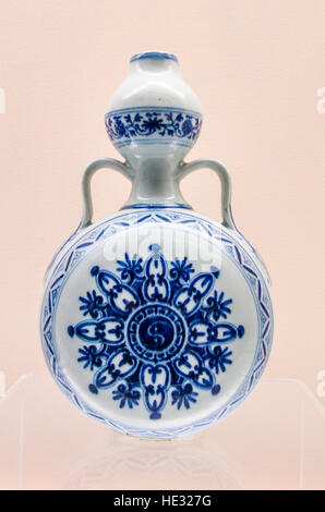 Ancient porcelain ceramic pottery jar vessel vase pot handle exhibit display at the Shanghai Museum, Shanghai, China. - Stock Photo