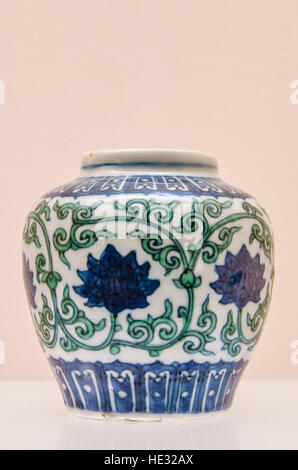 Ancient porcelain ceramic pottery jar vessel display with doucai design at the Shanghai Museum, Shanghai, China. - Stock Photo