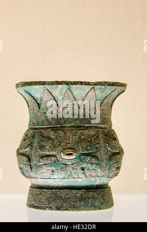 Ancient bronze wine vessel cup bowl exhibit display at the Shanghai Museum, Shanghai, China. - Stock Photo