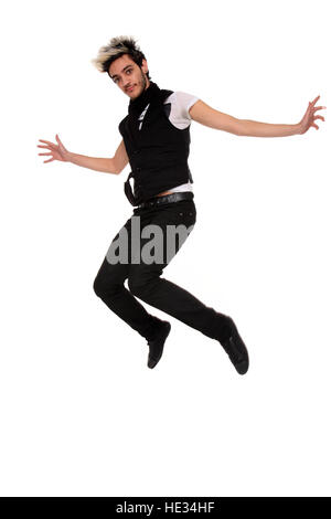 jumping young stylish man isolated on a white background - Stock Photo