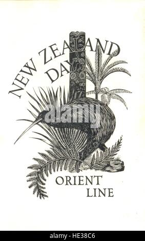 Menu card designed by Lynton Lamb for the Orient Line's  New Zealand Day celebration dinner - Stock Photo