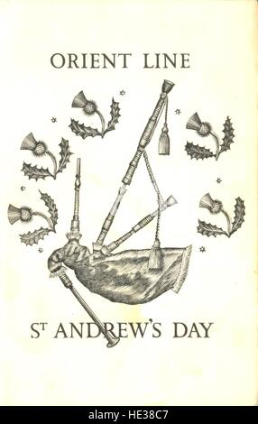 Menu card designed by Lynton Lamb for the Orient line St Andrew's Day dinner - Stock Photo