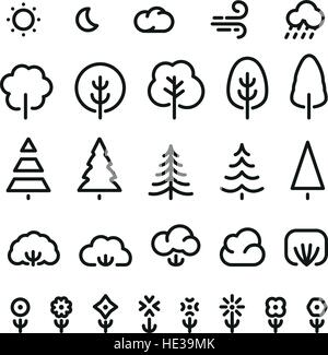 Isolated black color outlined coniferous trees,bushes,flowers and weather forecast signs in monochrome lines logo - Stock Photo