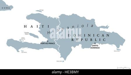 Hispaniola political map, also San Domingo. Haiti and Dominican Republic with capitals Port-au-Prince and Santo - Stock Photo