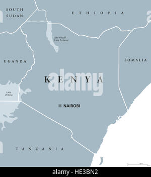 Kenya political map with capital Nairobi. Republic in Africa with national borders, neighbor countries. - Stock Photo