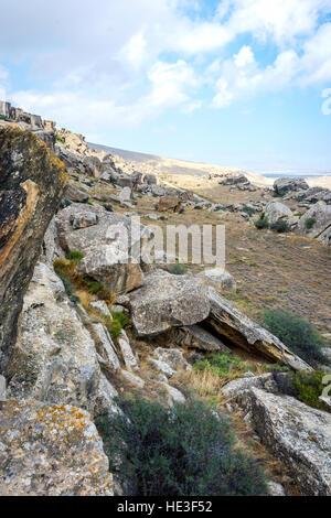 Rocks and landscape in Gobustan park, Azerbaijan - Stock Photo