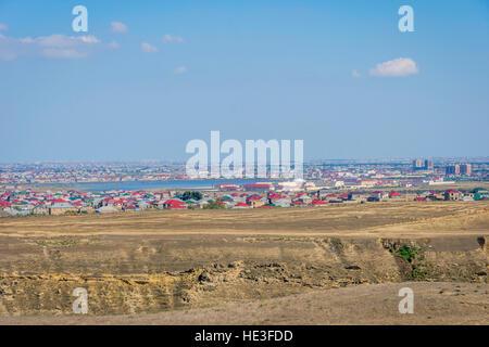 View over suburbs neighborhood in Baku, Azerbaijan - Stock Photo