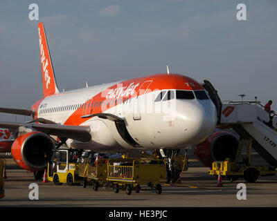 G-EZTG, Airbus A320-214, Easyjet on the tarmac of Humberto Delgado Airport, Lisboa, Lisbon, Portugal - Stock Photo