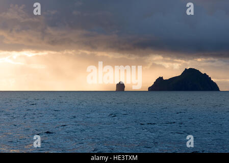 Islands of Boreray and Stac Lee, St Kilda, Outer Hebrides, Scotland, UK - Stock Photo